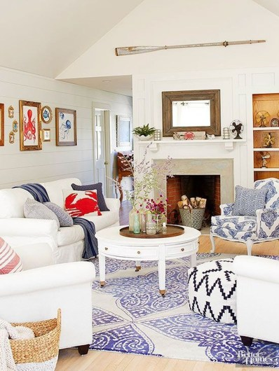 Stylish Coastal Themed Living Room Decor Ideas 44