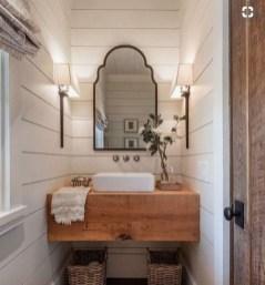 Comfy Farmhouse Wooden Bathroom Design Ideas 22