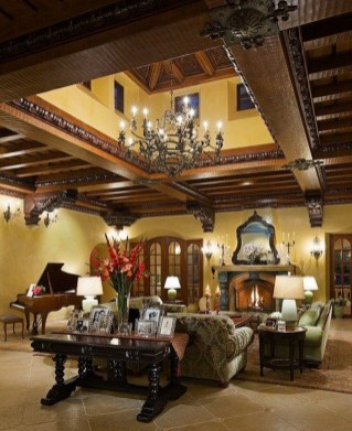 Luxury European Living Room Decor Ideas With Tuscan Style 43