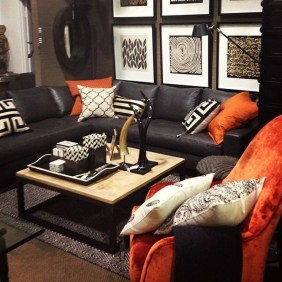 Catchy Living Room Designs Ideas With Bold Black Furniture 34