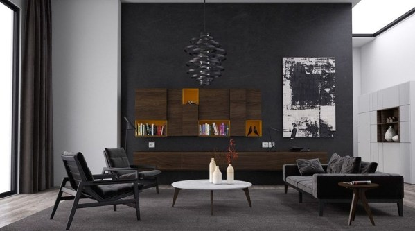 Catchy Living Room Designs Ideas With Bold Black Furniture 09