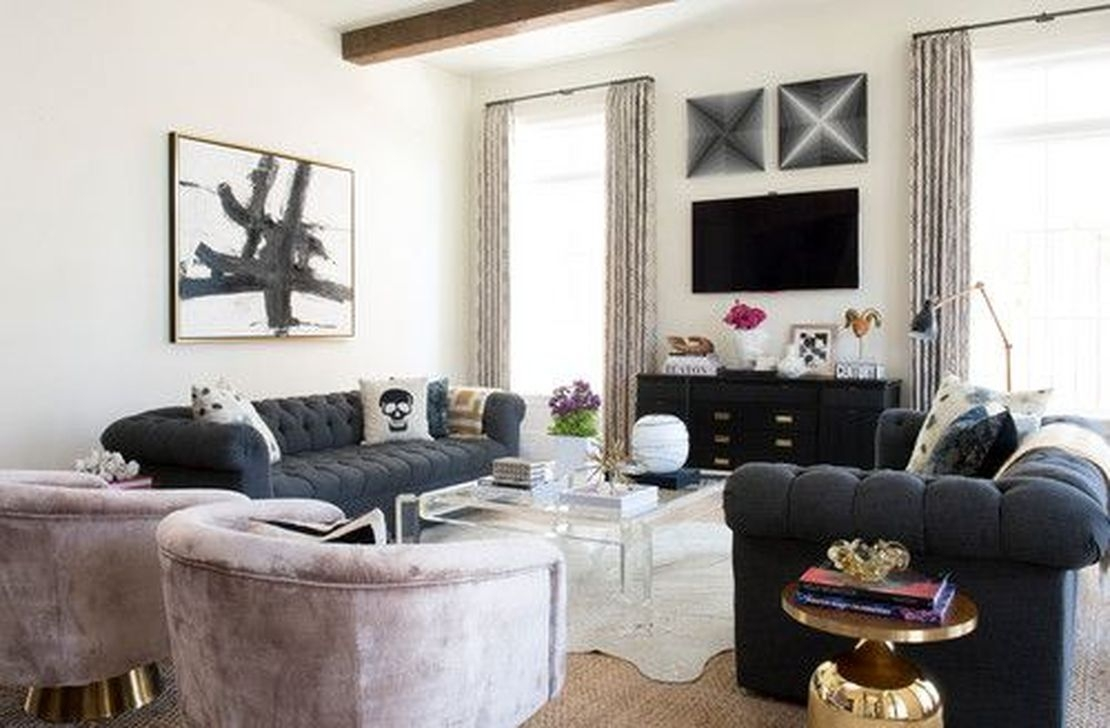 Catchy Living Room Designs Ideas With Bold Black Furniture 31