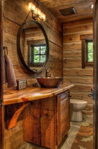 Cozy Small Bathroom Ideas With Wooden Decor 40