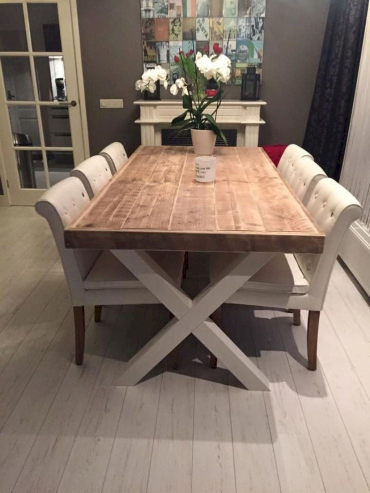 Cute Farmhouse Table Design Ideas Which Is Not Outdated 06