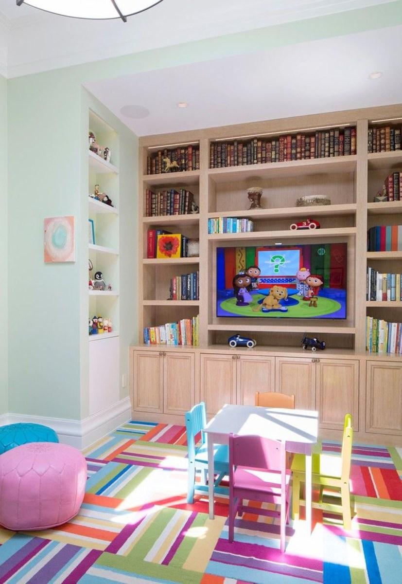 Cozy Bookcase Ideas For Kids Room 48