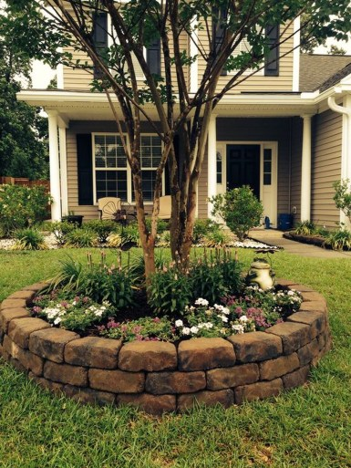 Adorable Flower Beds Ideas Around Trees To Beautify Your Yard 24