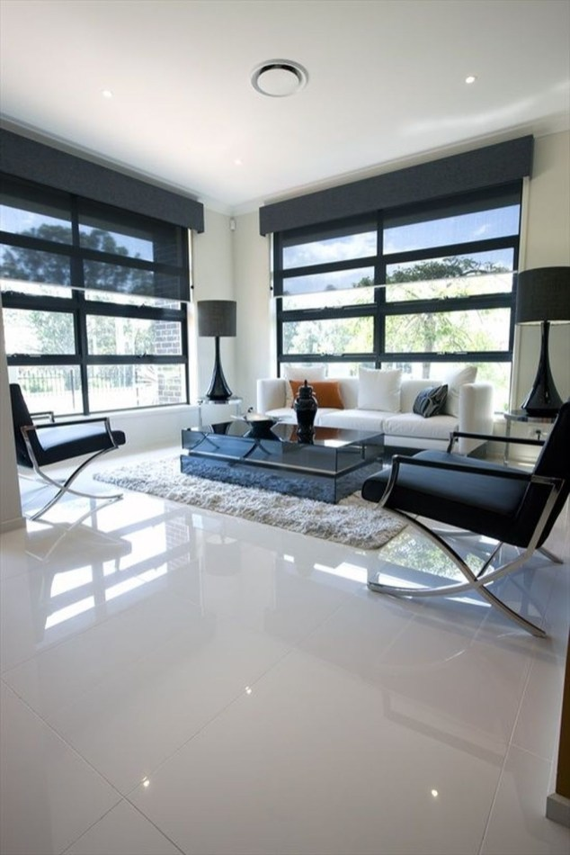 Awesome White Tiles Design For Living Room04