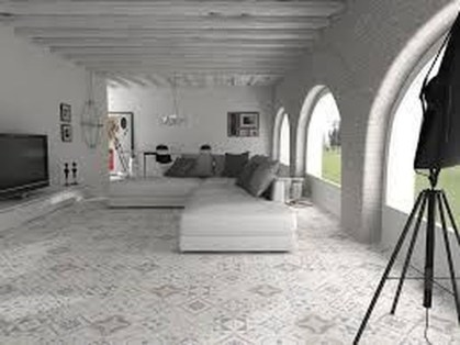 Awesome White Tiles Design For Living Room17