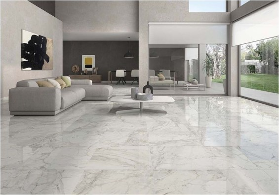Awesome White Tiles Design For Living Room27