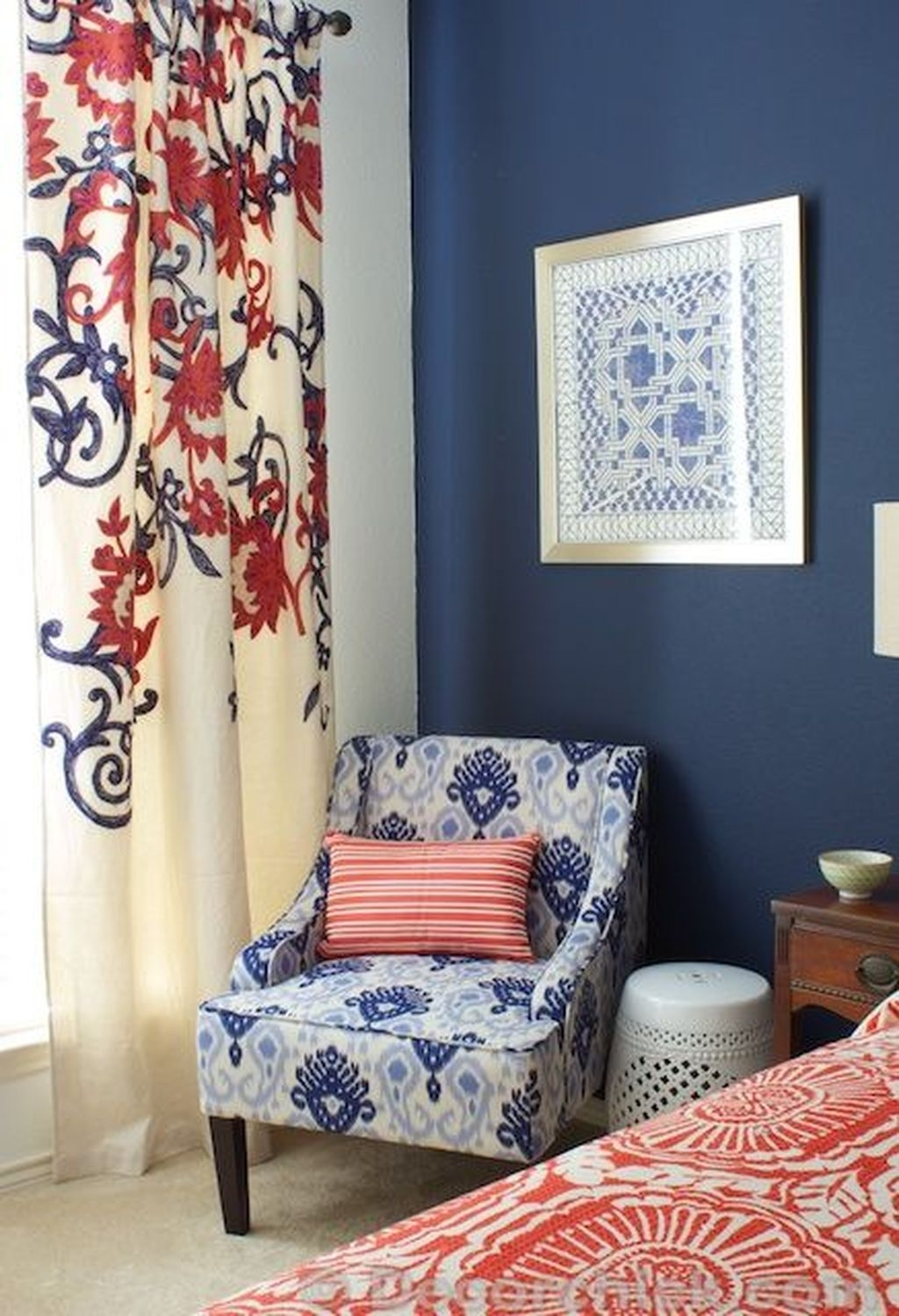Beautiful Navy Blue And Coral Bedroom Decor11