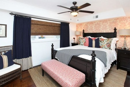 Beautiful Navy Blue And Coral Bedroom Decor18