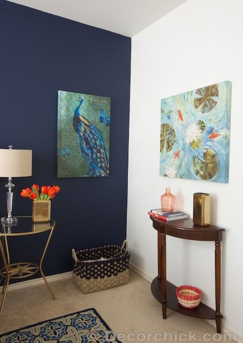 Beautiful Navy Blue And Coral Bedroom Decor32