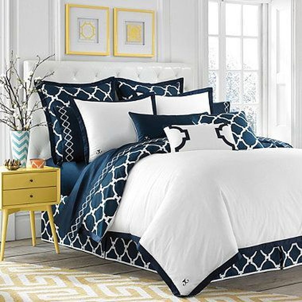 Beautiful Navy Blue And Coral Bedroom Decor39