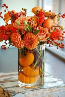 Lovely White And Orange Pumpkin Centerpieces For Fall And Halloween Table16
