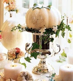 Lovely White And Orange Pumpkin Centerpieces For Fall And Halloween Table19