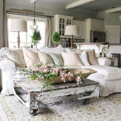 Comfy Farmhouse Living Room Decor And Design Ideas07