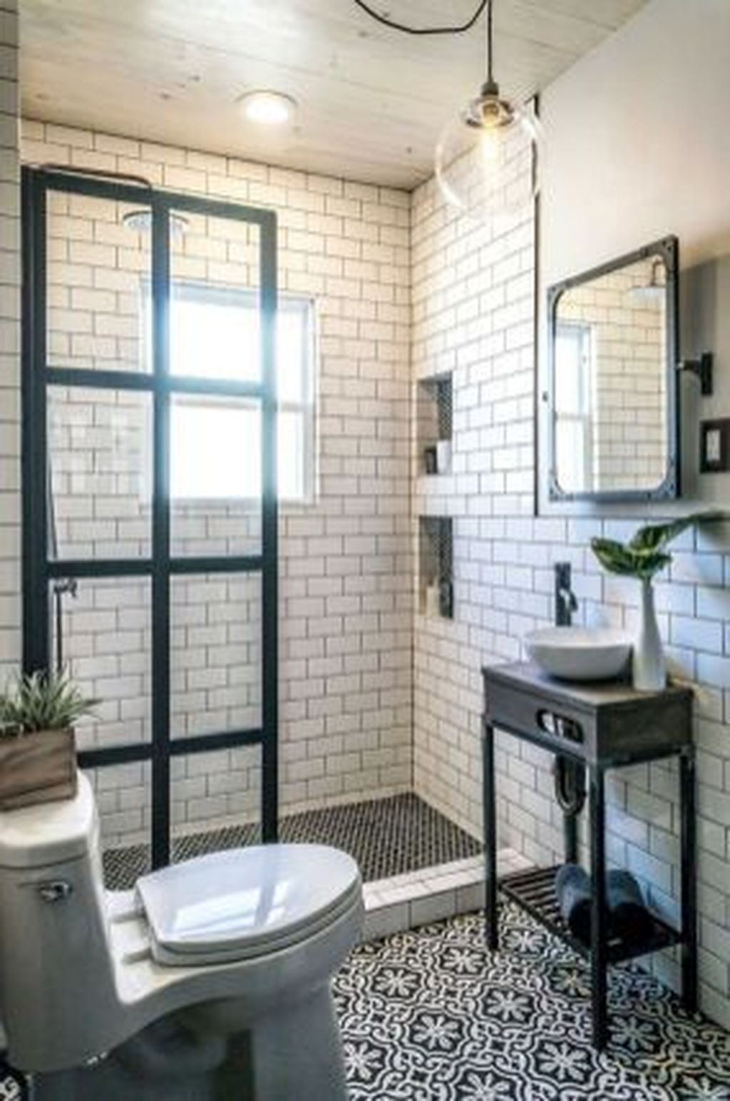 Lovely Farmhouse Shower Tiles Design Ideas31