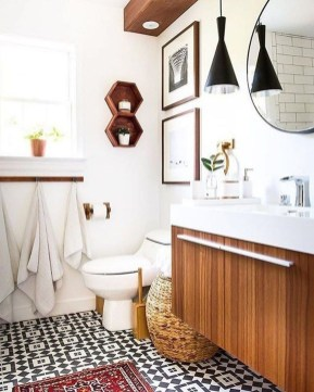 Cute Bohemian Style Decorating Ideas For Bathroom38