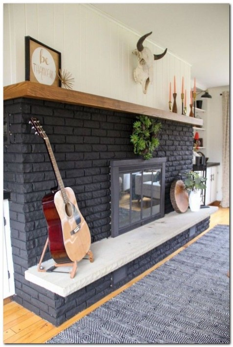 Modern Brick Fireplace Decorations Ideas For Living Room04