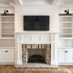 Modern Brick Fireplace Decorations Ideas For Living Room34