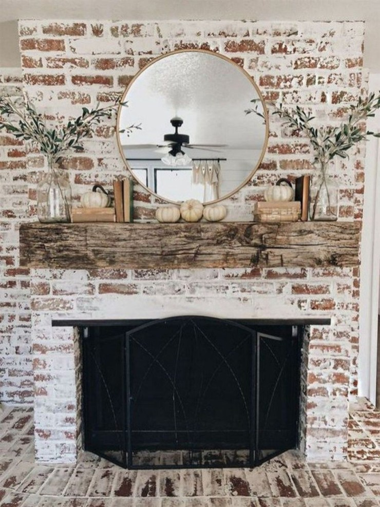 Modern Brick Fireplace Decorations Ideas For Living Room41