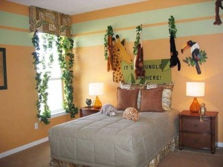 Charming Kids Bedroom Ideas With Jungle Theme To Try21