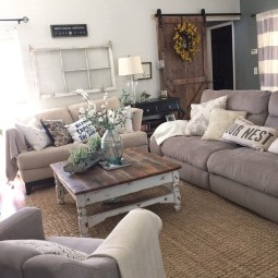 Gorgeous Country Farmhouse Decor Ideas For Living Room04