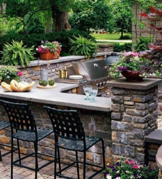 Newest Outdoor Kitchen Decoration Ideas To Make Cozy Kitchen25