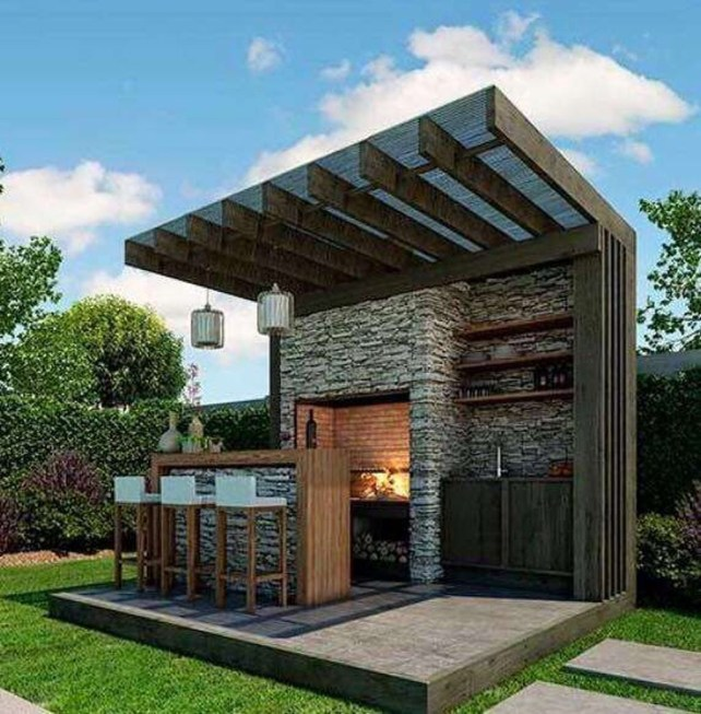 Newest Outdoor Kitchen Decoration Ideas To Make Cozy Kitchen36