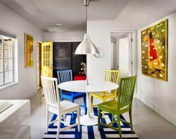 Stunning Dining Room Design Ideas With Multicolored Chairs39