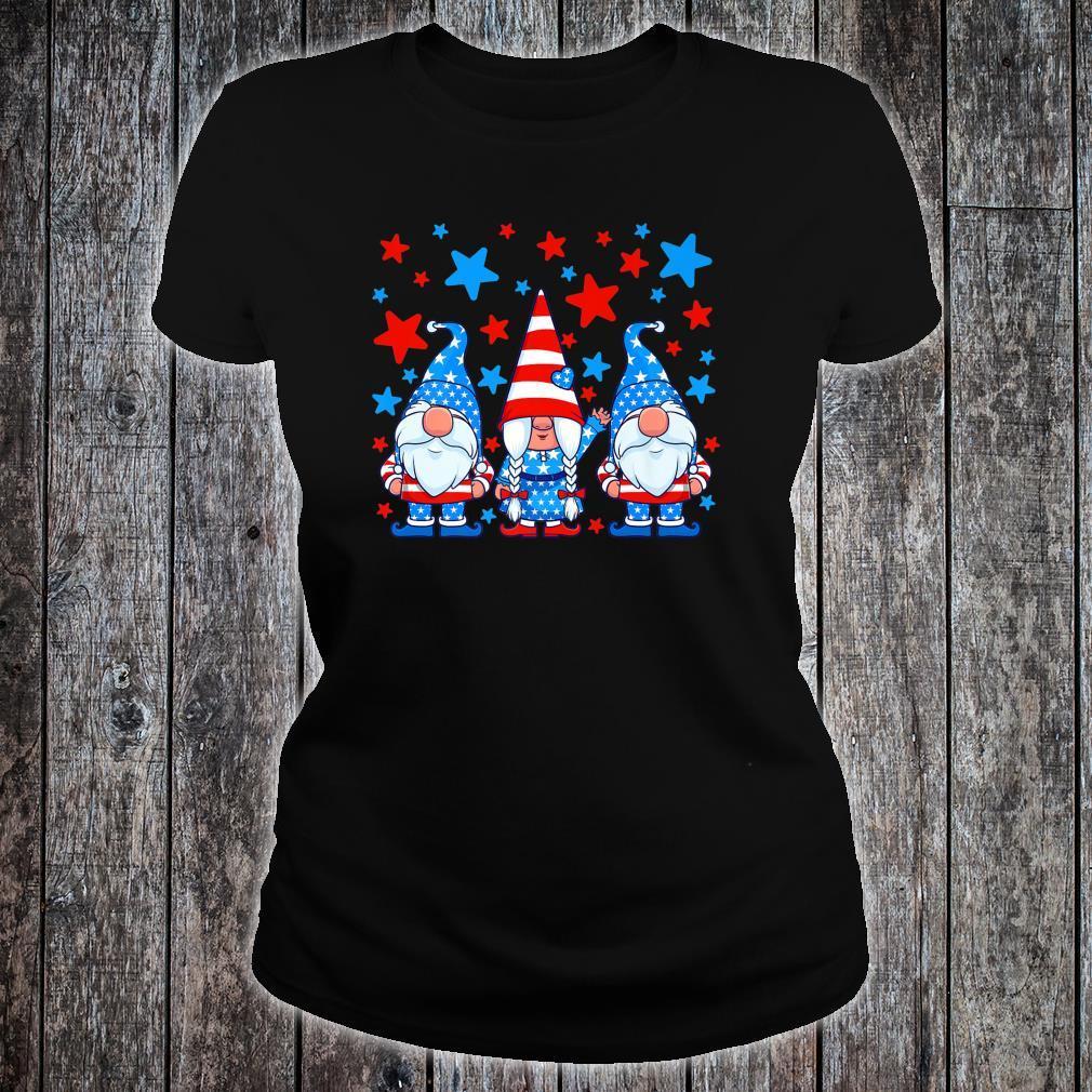 Cute Gnome 4th of July Gnomes Patriotic American Flag Shirt ladies tee