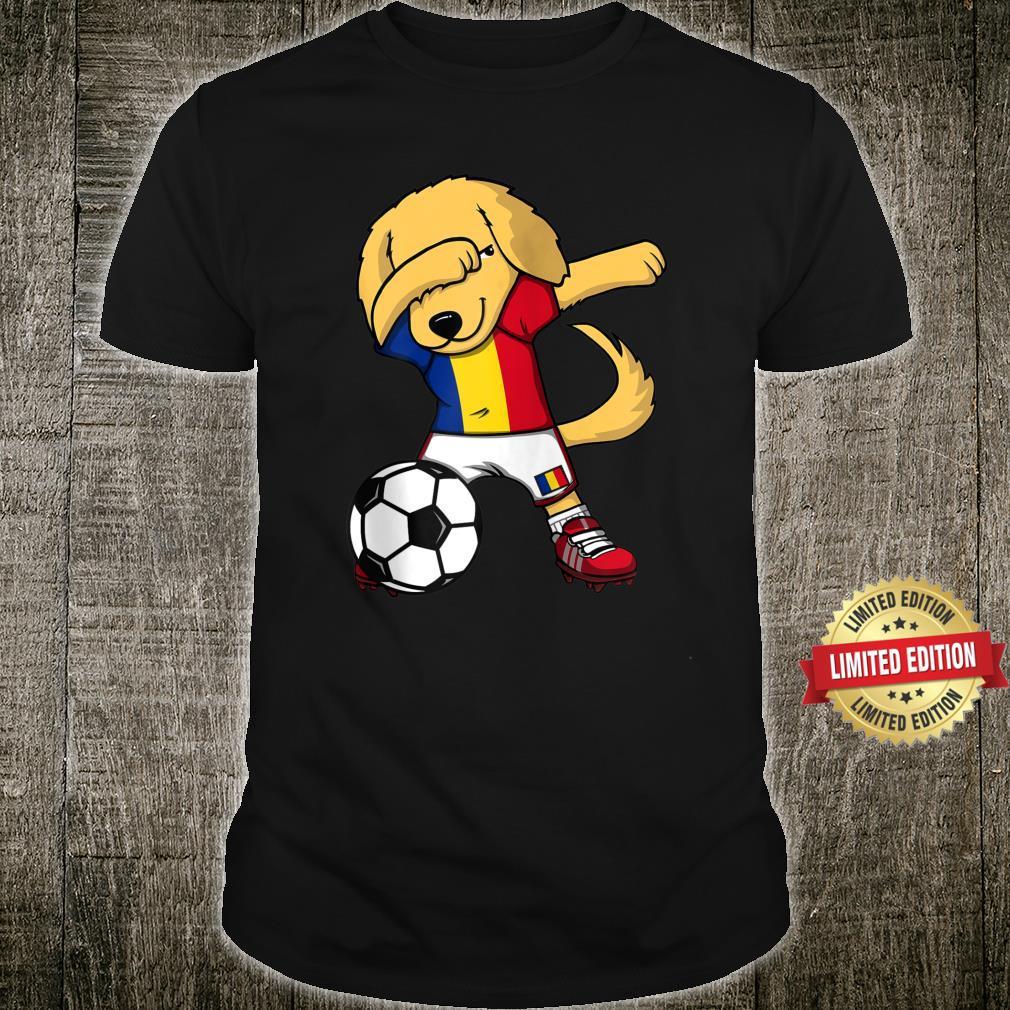 Dabbing Golden Retriever Romania Soccer Fans Jersey Football Shirt