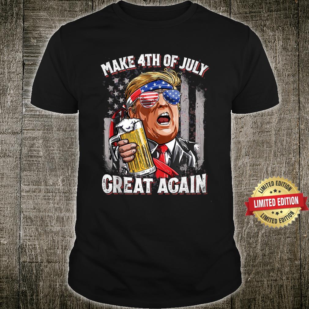 Make 4th of July Great Again Trump Drinking Beer Shirt