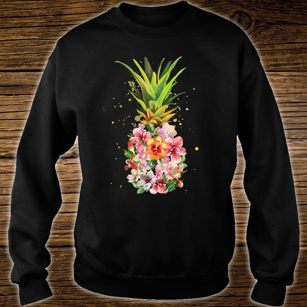 Pineapple Flowers Aloha Hawaii Vintage Hawaiian Floral Shirt sweater