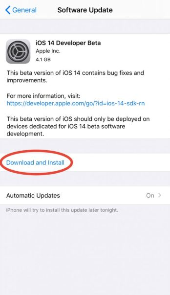 Manual install button to begin the iOS 14 beta installation
