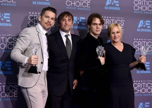 Ellar Coltrane Ethan Hawke Richard Linklater Patricia Arquette Boyhood Critics Choice Awards
