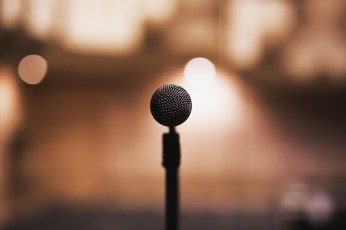 Microphone in front of audience.