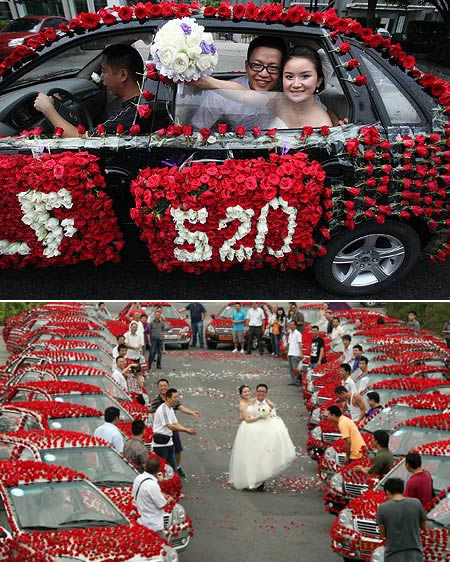 Groom decorated his car with 99,999 roses because he wanted to surprise his bride