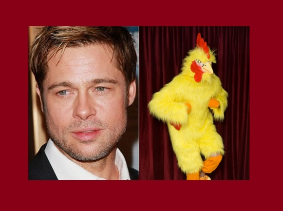 Brad Pitt was wearing a chicken costume for a fast food chain
