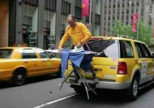 Ironing at the back of a cab