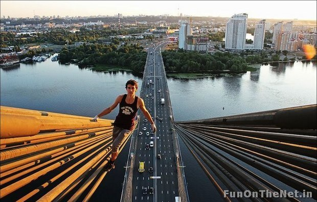 Kiril casually walking on top of a bridge