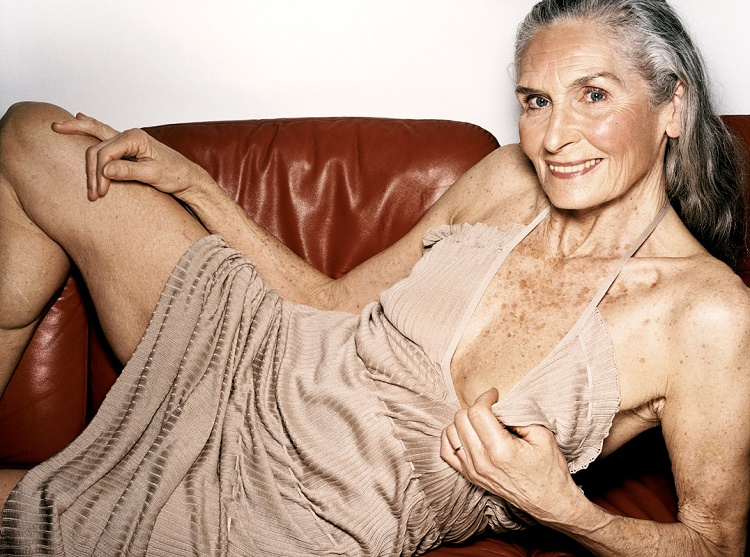 Eighty-five year old model that still models in lingerie
