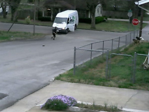 Fed Ex Driver Forgets to Put on Brake When Making A Delivery