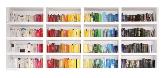 These rainbow bookshelves