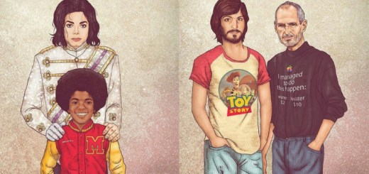 An artist creates illustrations of older celebrities with their younger selves and the result is brilliant