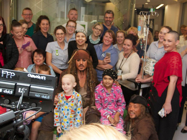 Johnny constantly travels in his Jack Sparrow costume to entertain children in hospitals