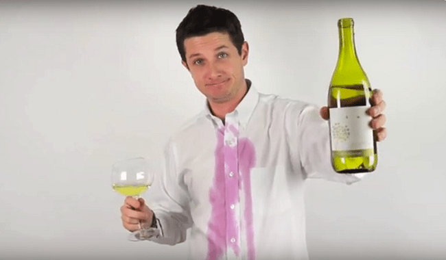 Red wine stains with white wine
