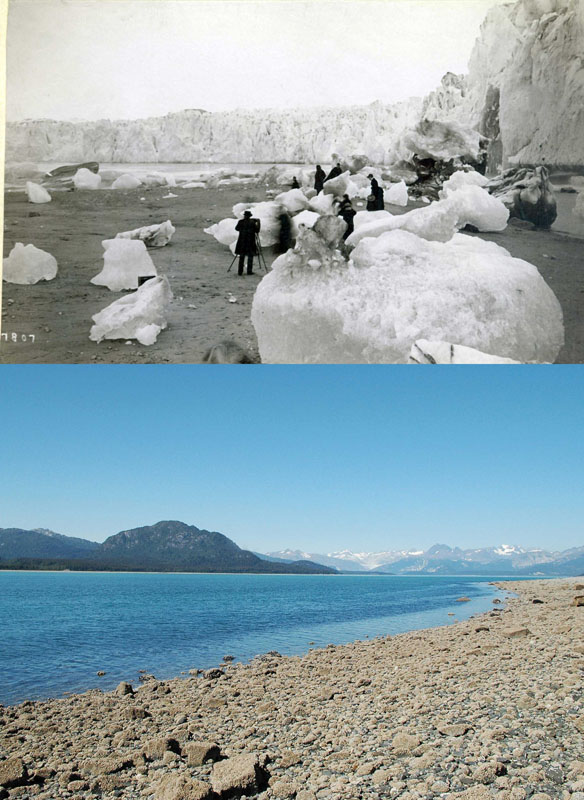 1880s and 2005: Alaskan Muir Glacier and Inlet