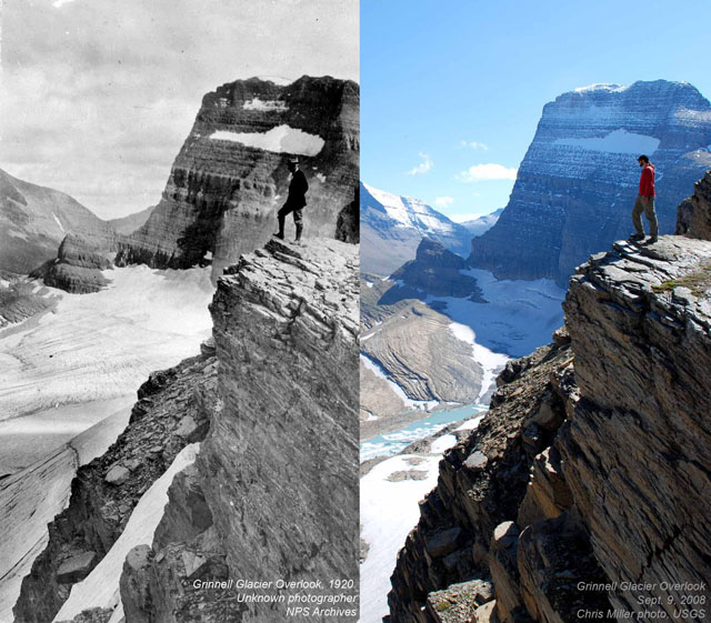 1920 and 2008 Grinnell Glacier Overlook in Montana
