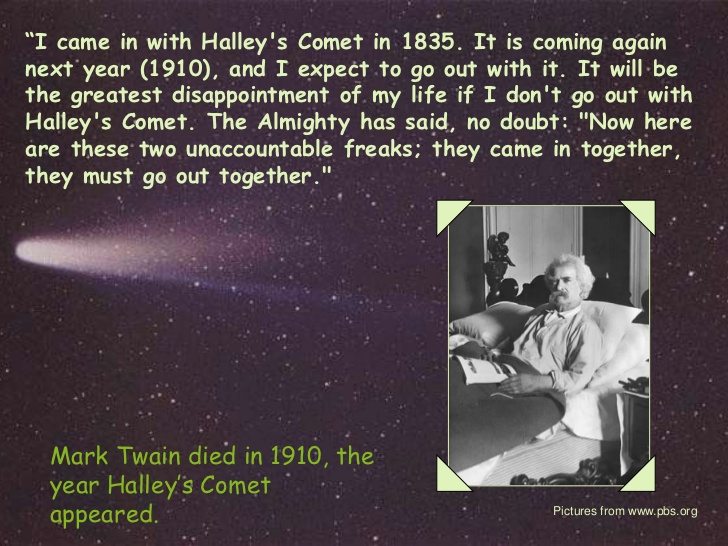 Mark twain's Tryst with Halley's Comet